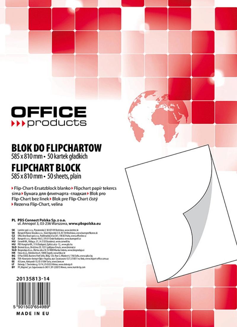 Rezerva hartie pentru flipchart, 70g/mp, 58.5x81cm, 50coli/top, Office products - velina