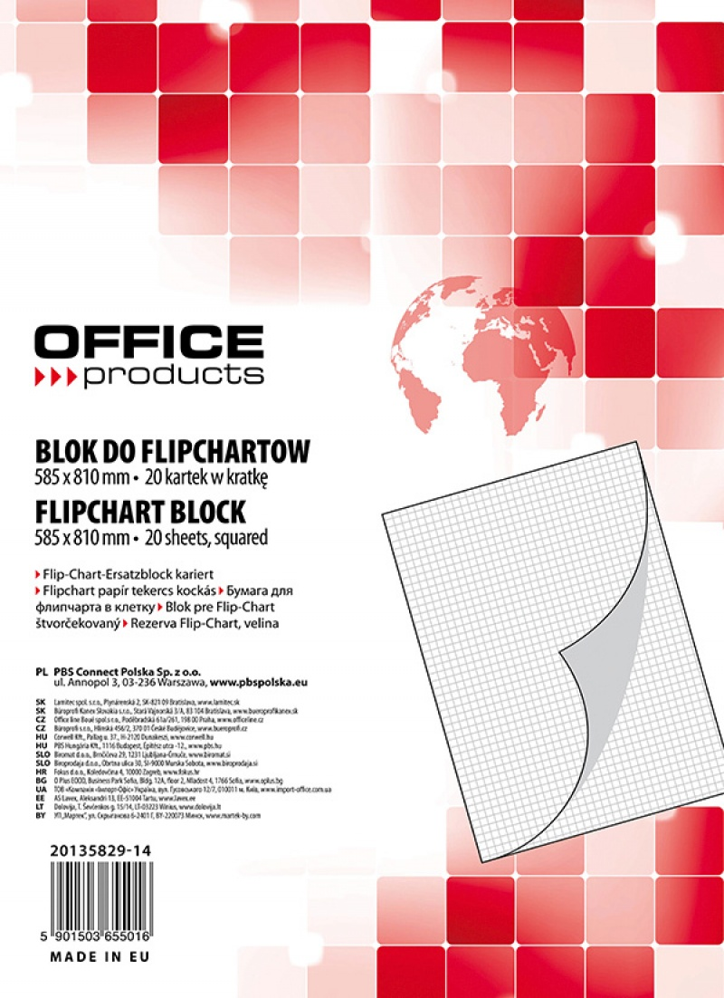 Rezerva hartie pentru flipchart, 70g/mp, 58.5x81cm, 20coli/top, Office products - caroiata