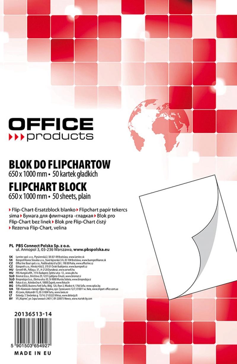 Rezerva hartie pentru flipchart, 70g/mp, 65x100cm, 50coli/top, Office products - velina