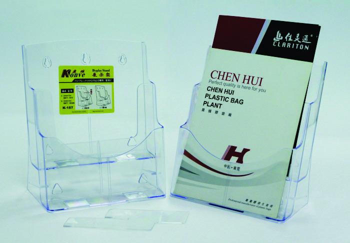 Display plastic pentru brosuri, de birou/perete, 2 x A4-portrait, KEJEA - transparent