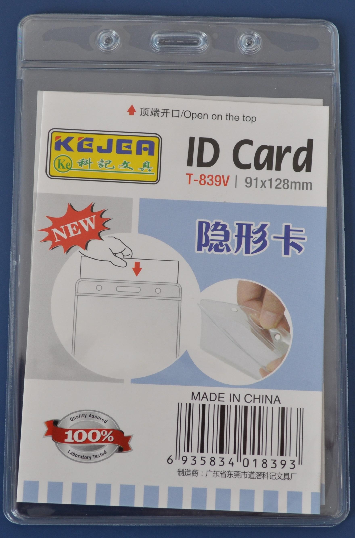 Buzunar PVC, pentru ID carduri, 128 x  91 mm, vertical, 10 buc/set, KEJEA - cristal