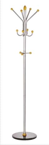 Cuier metalic argintiu ALCO, 185/40cm, 11 agatatori metalice cu accesorii din lemn