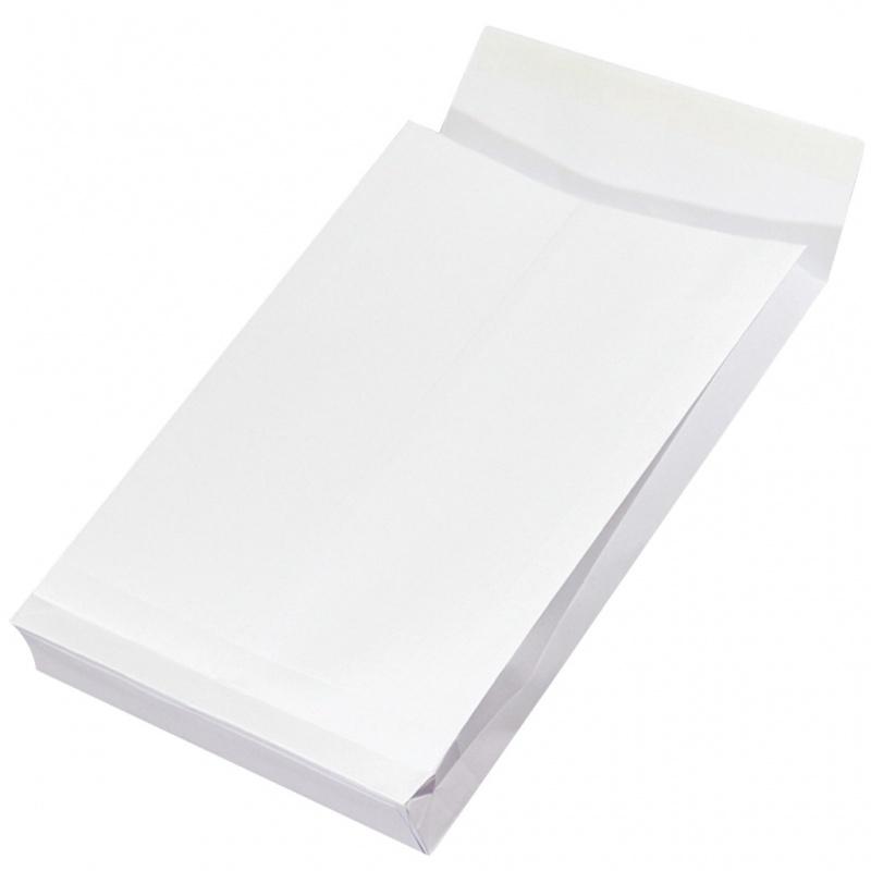 Plic B4 (250x353mm), cu burduf de 38mm, lipire siliconica, 250 buc/cutie, Office Products - alb